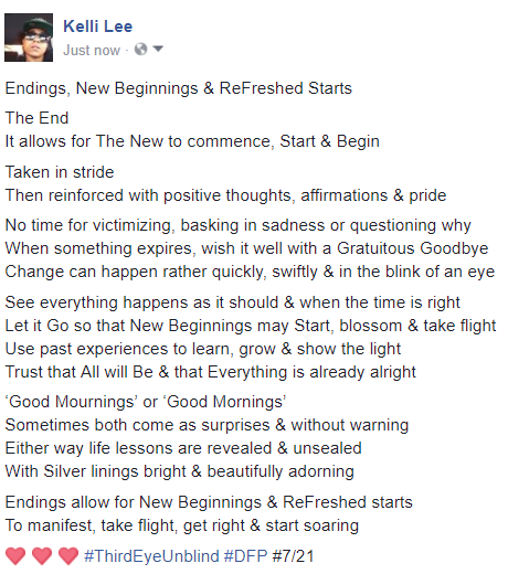 endings new beginnings & refreshed starts